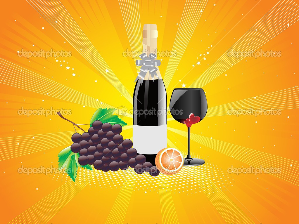 Abstract yellow rays background with wine glass, wine and fruit — Stock Vector #1775817