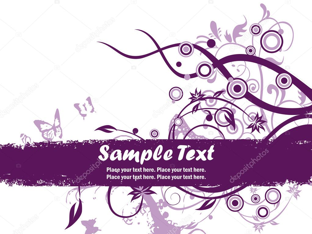 Grungy banner with purpke floral pattern, butterfly — Stock Vector #1776443