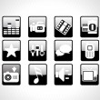 Web glossy icons set, black — Stock Vector
