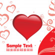 Vector- red valentine card illustration — Vector de stock