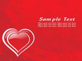 Rött hjärta form valentine kort — Stockvektor