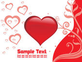 Vector-rood valentine kaart illustratie — Stockvector