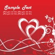 Red valentine love card — Vector de stock