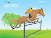 Horse crossing barrier with rider — Stock Vector