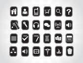 Icons on black background — Stock Vector