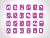 Iconos con fondo púrpura — Vector de stock