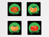 Pumpkins with different expressions — Stock Vector