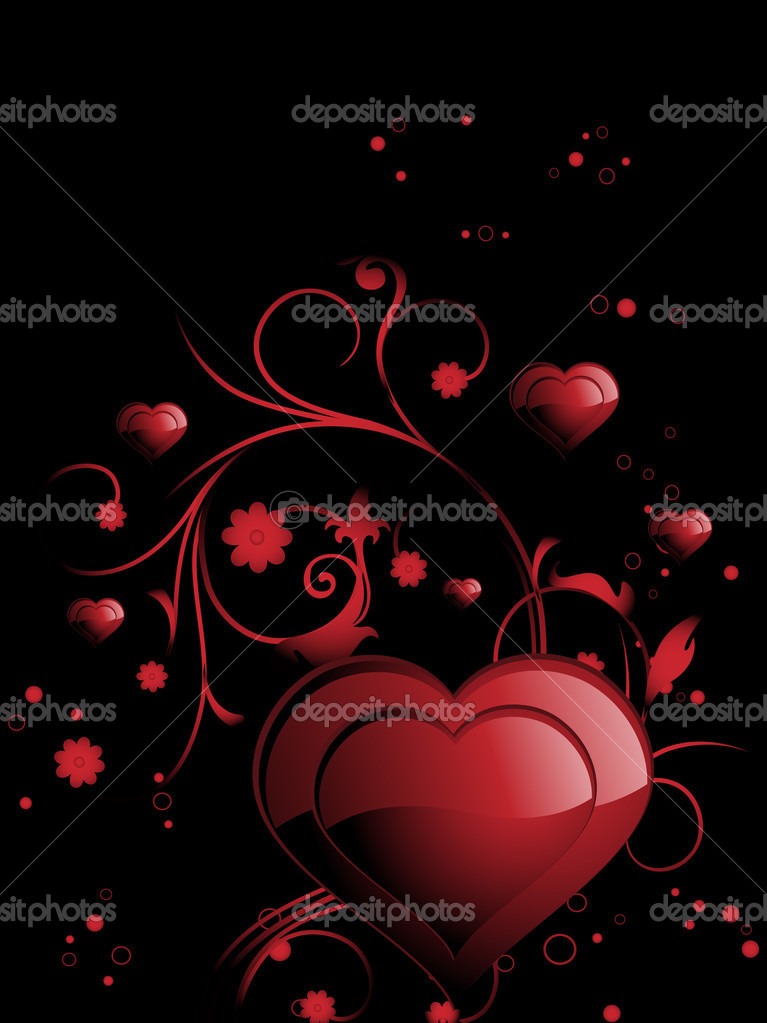 Abstract black background with romantic floral patern heart  Stock Vector #1881187