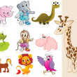 Set of animal with background - Stock Vector