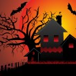 Illustration of halloween background - Stok Vektör