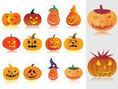 Collection of halloween pumpkin — Stock Vector