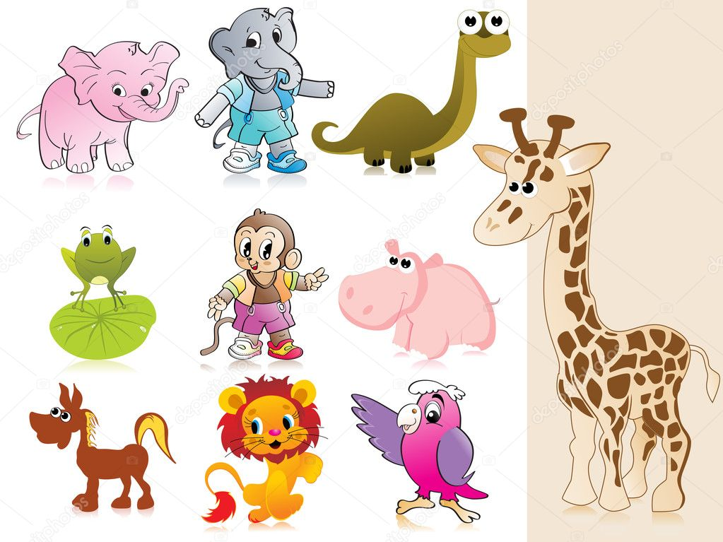 Background with collection of animal  Imagen vectorial #1913199