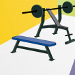 Weightlifting bench and weights — Stock Vector