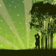 Stock Vector: Vector kissing couple under tree