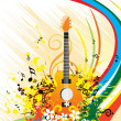 Guitar on grungy floral background — Stock Vector