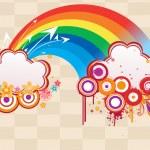 Rainbow with grungy artwork illustration — Stock Vector
