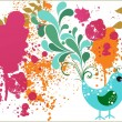 Royalty-Free Stock Vector Image: Grunge background with cute bird