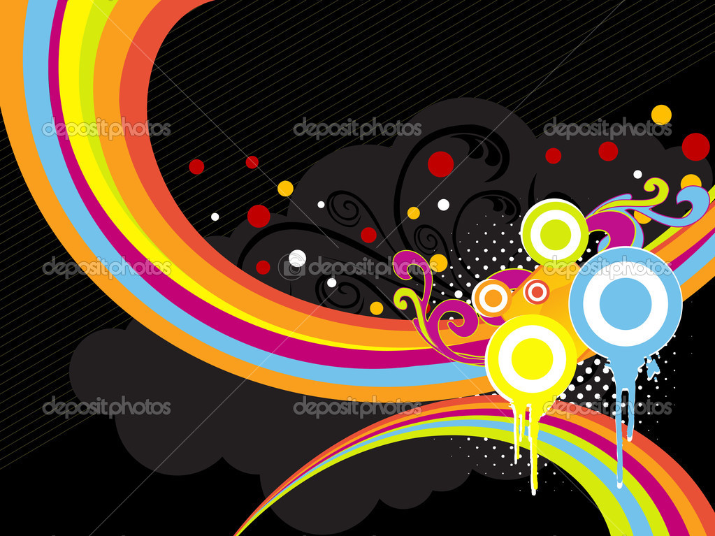 Abstract black background with grungy colorful artwork — Stock Vector #2161678