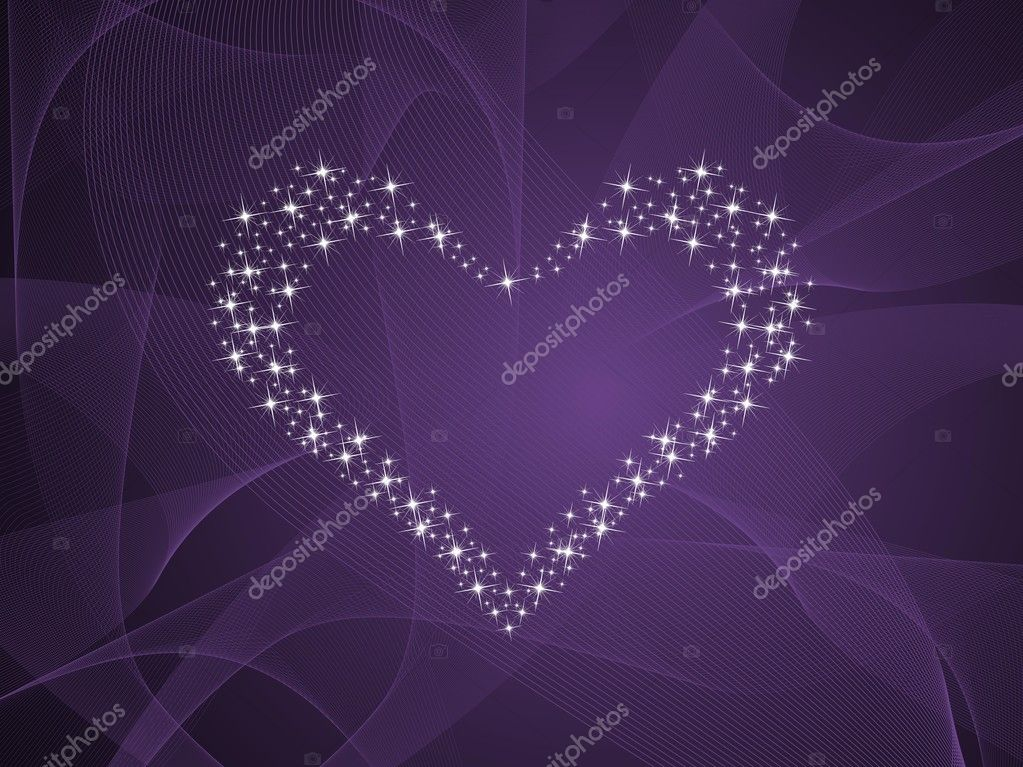Abstract purple wave background with twinkle star pattern romantic heart — Stock Vector #2164023