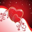 Background with decorated romantic heart — Imagen vectorial