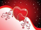 Background with decorated romantic heart — Vector de stock