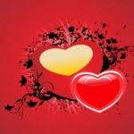 rood hart met grunge en bloemdessin — Stockvector