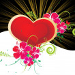 Royalty-Free Stock Imagem Vetorial: Rays background with heart and flower