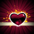 Maroon heart with rays background — Vettoriali Stock