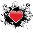 Background with black grunge heart - Stock Vector