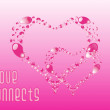 Beautiful pink heart-shape ornament — Imagen vectorial