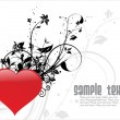 Beautiful background with floral heart - Vektorgrafik
