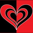 Vector red black true love card — Stock Vector #2196435