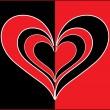 Vector red black true love card — Stock Vector