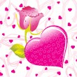 Pink valentine with rose text - Image vectorielle