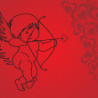 Abstract red cupid with red background — Stock Vector