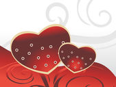 Romantic heart with artwork background — Vector de stock