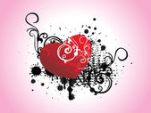 Grunge con corazón patrón artístico — Vector de stock