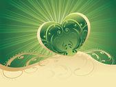 Fond de rayons verts avec coeur vert — Vecteur