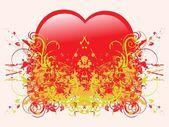 Ilustración abstracta grunge-en forma de corazón — Vector de stock