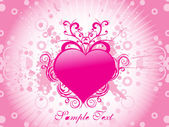 Pink heart with retro background — Stock Vector