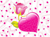 Pink valentine with rose text — Stock Vector