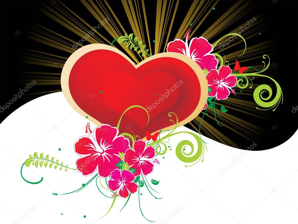 Red heart with beautiful flower pattern illustration — Stock Vector #2193211
