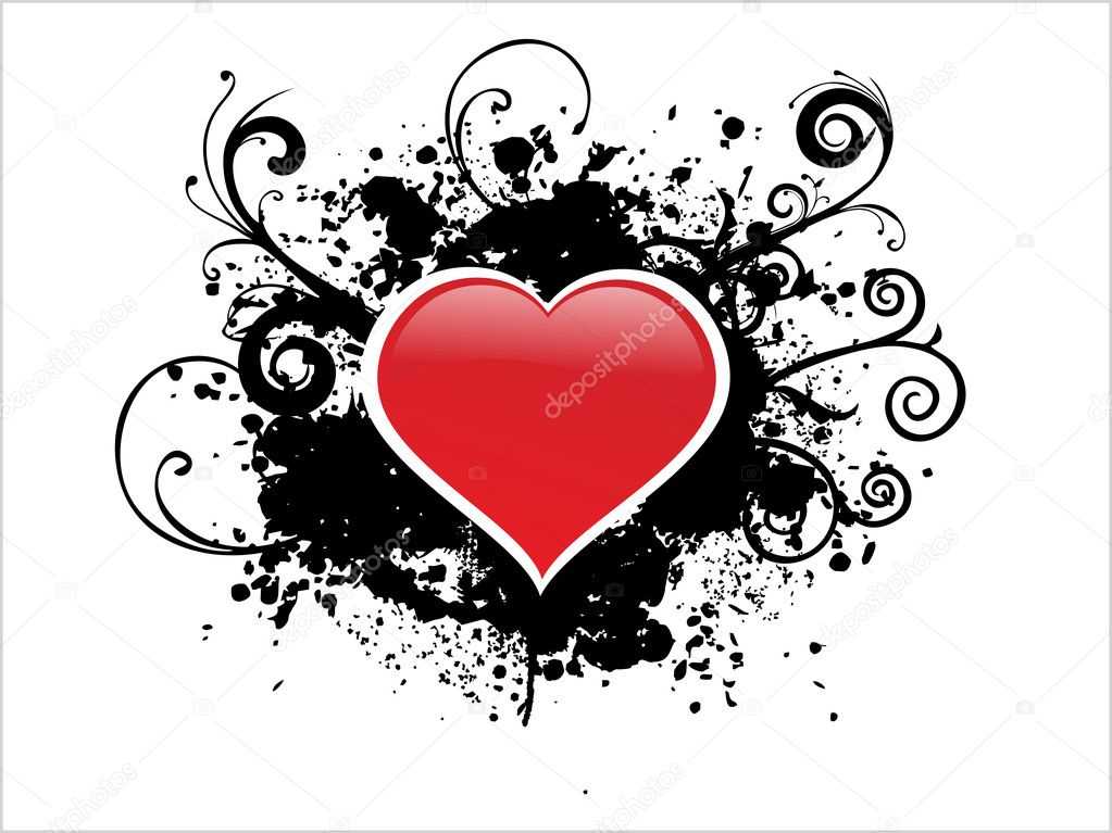 White background with black grunge heart illustration — ベクター素材ストック #2193724