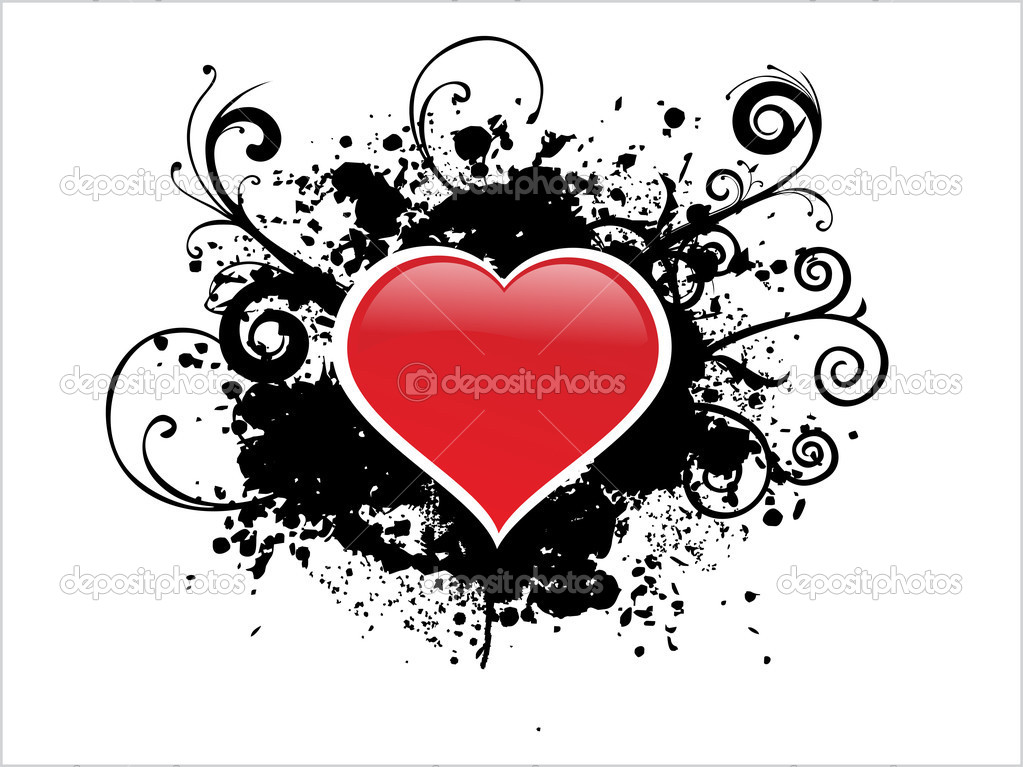 White background with black grunge heart illustration — Векторная иллюстрация #2193724