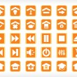 Media icon set series orange — Stock Vector