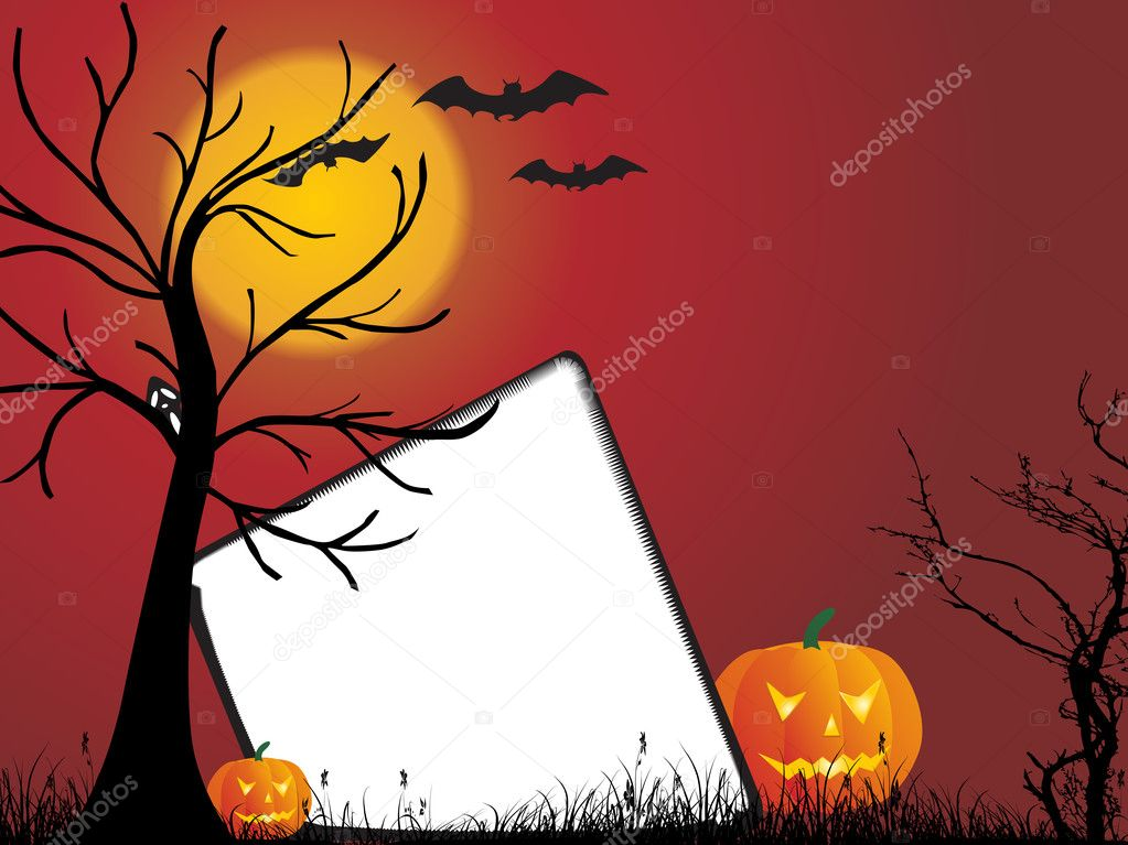 Abstract red background with halloween elements — Stock Vector #2231174
