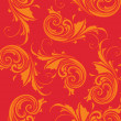 Red background with orange floral — Stock Vector