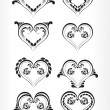 Set of beautiful heart shape tattoo — Stock Vector