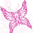 Beautiful pink butterfly tattoo — Stock Vector