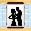 Stock Vector: Romantic couple silhouette on window